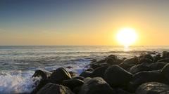 Gold Coast Burleigh Heads Ocean Sunrise Stock Footage