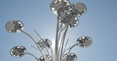 "Milano, Gae Aulenti Square, the downstair area. Artemide""s flowers lamp. Stock Footage"