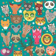 Set of funny animals muzzle seamless pattern. Teal background with stars. Vector Stock Illustration