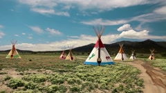 Indian Tepees Stock Footage