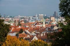 Vienna rooftops on bright summer day - stock photo