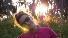 Fashion Lifestyle Portrait Pretty Woman in Sunglasses Smiling. Slow Motion - stock footage