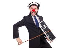 Funny clown businessman isolated on the white background Kuvituskuvat