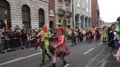 St Patricks Day Dublin Scarecrows Stock Footage