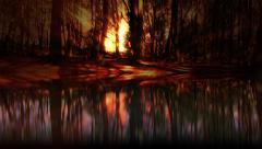 Fantasy dreamy ambient forest reflections in lake Stock Footage