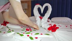 Maid Doing Room Service in Hotel Stock Footage