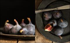 Compilation of images of Fresh figs in moody vintage style moody natural ligh Stock Photos