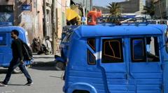 Ethiopia street scenes, motor rickshaws or tuk-tuk taxis, public transport Stock Footage