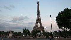 Eiffeltower, Paris - Evening Stock Footage