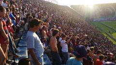 Argentine soccer audience in stadium singing 4K - stock footage
