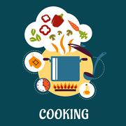 Stock Illustration of Cooking flat infographic with vegetable soup preparation