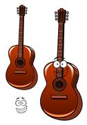 Classic acoustic guitar cartoon character Piirros