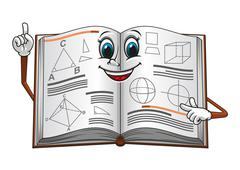 Open textbook with geometric shapes cartoon character - stock illustration