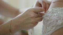 morning bride, wedding dress - stock footage