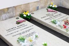 Sanctuary of Fatima, Portugal. Tombs of Jacinta Marto and Sister Lucia Stock Photos