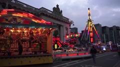 Dublin St Patricks Custom House Amusement Rides Stock Footage