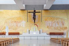 Sanctuary of Fatima, Portugal. Basilica of Most Holy Trinity altar Stock Photos