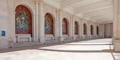 Sanctuary of Fatima, Portugal. Panels decorating the colonnade on both sides  - stock photo