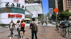 Stock Video Footage of 4K, UHD, Lunch time in Los Angeles Downtown Business district, California
