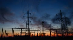 Sunset at Electric Power Station Stock Footage