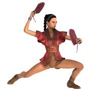 Asian Woman with Battle Fans Stock Illustration