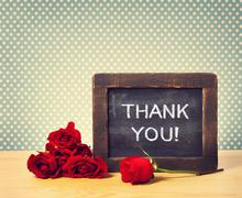Thank you message with red roses Stock Photos