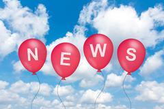 news text on balloon - stock illustration