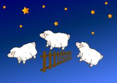 Sheep jumping over a fence Stock Illustration