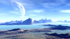 3D rendered fantasy alien planet. Rocks and  moon Stock Footage