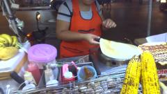 Crepe at street stand Stock Footage