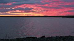 Night sky on the bay (Finland, polar day) Stock Footage