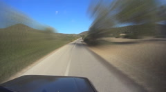 Pov Top Of Car On country roads Stock Footage