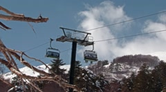 Chairlift on the northern slope of the volcano Etna Stock Footage