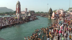 Hindu pelgrims at holy Ganges,Haridwar,India Stock Footage