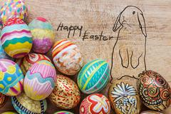Set of colorful easter egg - stock photo