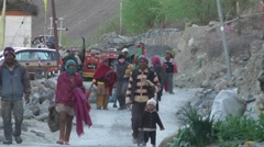 People at the end of the day in village,Tabo,Spiti,India Stock Footage