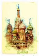view of St. Basil's Cathedral - stock illustration