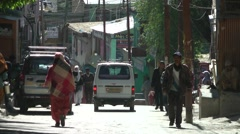Busy road with pedestrians,Kargil,Ladakh,India - stock footage