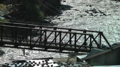 Bridge over Indus river,Kargil,Ladakh,India Stock Footage