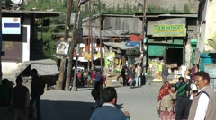 Busy street with pedestrians,Kargil,Ladakh,India - stock footage
