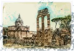 Ancient Ruins of Rome - stock illustration