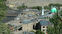 Viewpoint on Kargil with mosque and river,Kargil,Ladakh,India Stock Footage