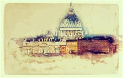 St. Peter's cathedral in Rome, Italy Stock Illustration