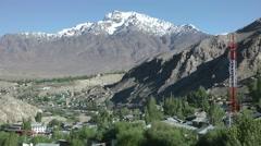 Viewpoint on Kargil with mountains,Kargil,Ladakh,India Stock Footage