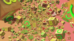 Abstract flying Wooden alphabet cubes - stock footage