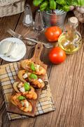 Appetizer bruschetta. - stock photo