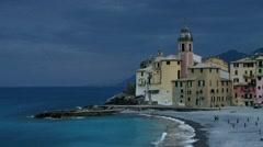 The town Camogli in Italy Stock Footage