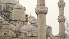 Close up of Blue Mosque, Sultanahmet, Istanbul, pan Stock Footage