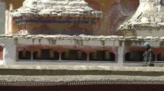 Budhist spinning prayer wheels around Monastary,Lamayuru,Ladakh,India Stock Footage