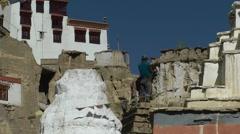 2 men repair gompa ,Lamayuru,Ladakh,India Stock Footage